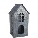 Maison de zinc Adara, étroit, D17cm, H30cm, gris